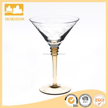 Carved Willow Leaf Cocktail glass Coloured Stem Martini Glass