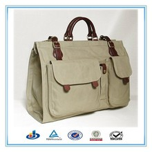 Canvas travel bag pertaining leather with3 pockets on face, Chinese