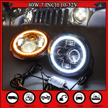"2015 promotional USA popular JEEP wrangler headlight 7"" led headlight Motorcycle 10-32V WITH Angel eyes HIGH / LOW BEAM H4 H13"