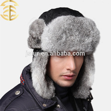 Venta al por mayor gorro de invierno estilo ruso hecho con genuina piel de conejo