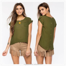 lady decorative button closure custom deisgn relaxed fit 100% polyester t shirt