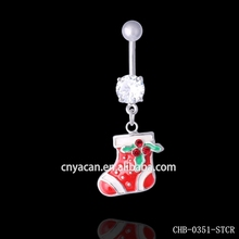 Wholesale Fashion 316l Surgical Steel Christmas Sock Navel Piercing Channel