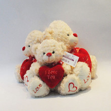 Manufatory plush mini white teddy bear with red heart