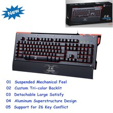 Initiative and creative wired gaming mechanical keyboard, High quality immitation Mechanical Keyboard with Aluminum Alloy Cover