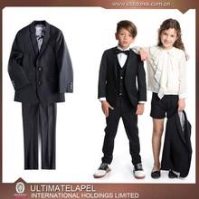 2015 nouvelle arrving haute qualité 100% laine noir enfants mariages costumes