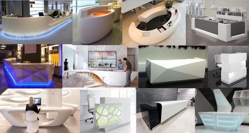 Beau White Led Office Reception, Modern Front Desk, Modern Reception Desk Led