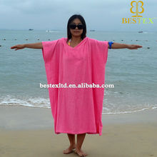 China supplier adult pink swimming Changing hooded poncho