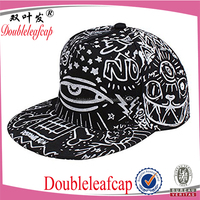 Cool Graffiti Printed Baseball Hat Hippie Snapback Adjustable Hip-Hop P ea k Cap(Black)