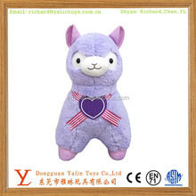 OEM Best Sale&Most Popular Peaceable Plush&Stuffed Purple Alpaca With Heart Meet EN71&ASTM For Kids