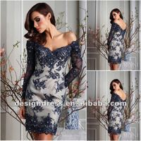 New fashion 2012 Sexy off the shoulder long sleeve lace short ladies dresses C1301