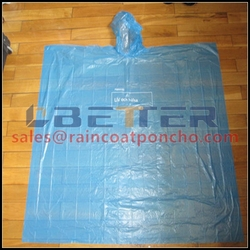 Women PE Transparent Disposable Hooded Rain Poncho In Bag