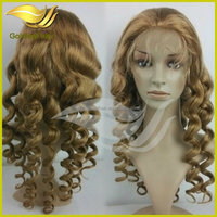 2014 new product beauty body wave silk top human hair full lace wig blond color wholesale