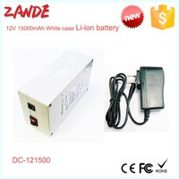 Portable DC 12V Super li-ion battery/Power bank rechargeable 12V 15000mah with white case EU Charger