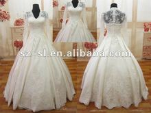2012 Custom Made Classic A-line Satin/Lace Long Sleeve Beads Bridal Gown/Wedding Dresses SL-9182