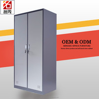 Stainless steel double door wardrobe furniture design grey metal clothes storage cabinet