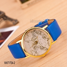 Fashion hot sale mix color print around the word map clock leather watches