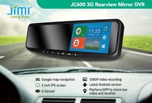 JIMI 3g wifi andriod 4.4 rearview mirror with gps navigation bluetooth security camera with sd recording card