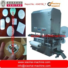 Automatic stretch film packing machine for round soap ( with converyor belt feeding and labelling funcation)