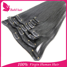 alibaba express grey color clip in hair extension malaysian hair clips