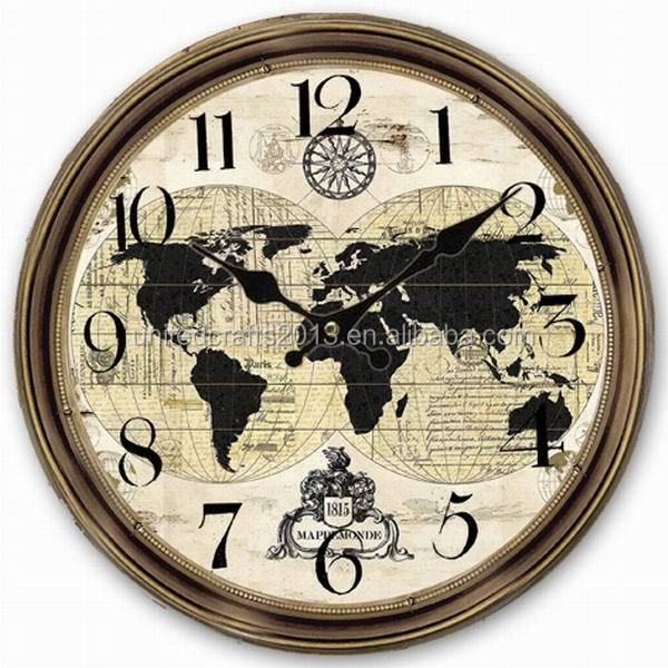 World map painted wall clocksantique wall clock wooden wall clock z1023 34cmg gumiabroncs Image collections