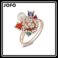 2015 JOFO Brand Colorful Ring Women Accessories Ring Jewelry Gold Plated Austrian Crystal Pearl Exaggerated Ring FGJ0005