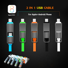 2 in 1 Micro usb + 8pin USB Sync Data Charger Cable for iPhone 5s 6 plus ipad 4 5 For Samsung S4 S5 S6 for Android Phone Cable
