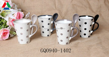11oz custom coffee mug ceramics and dots with spoon color handle wholesale
