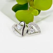 SN048 Silver Heart Shining Zircon Fashion S925 Sterling Silver Earring