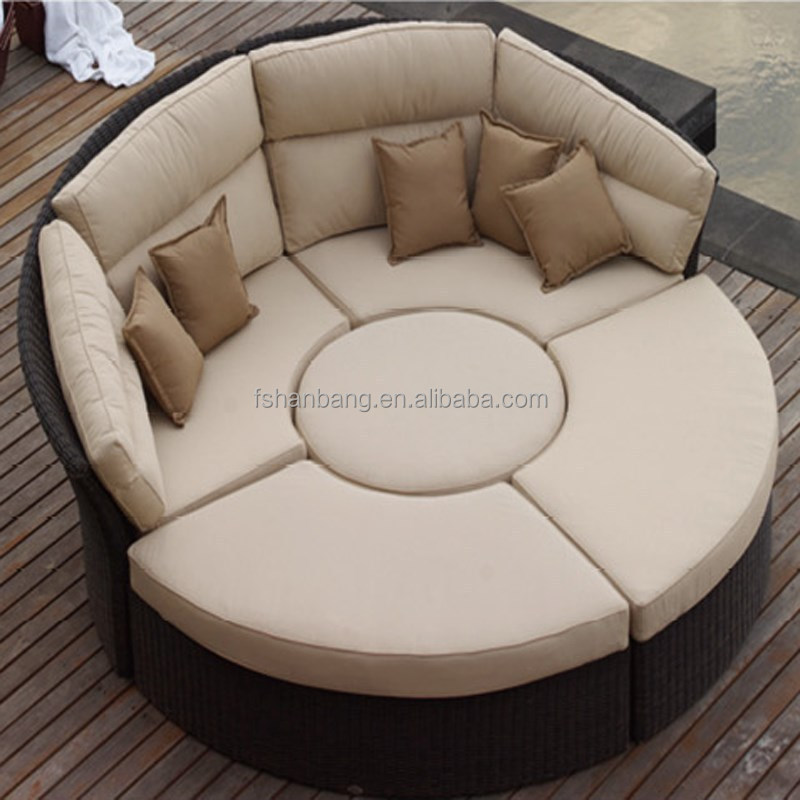 outdoor rattan wicker garden furniture set round sofa bed buy outdoor round sofa bed rattan. Black Bedroom Furniture Sets. Home Design Ideas