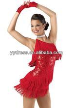 Sensational One-shoulder Flying Fringe Latin Dress