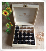 Free samples Exclusive Design wooden essential oil storage box wooden packing gift box wholesale with 25grids