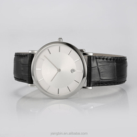 2015 genuine leather band sapphire crystal glass watch in china