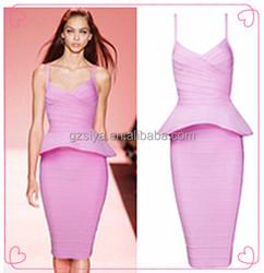 Graceful Mature Pink Bandage Dress
