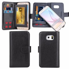 Detachable leather wallet flip case for Samsung galaxy S6 with Cash,ID & SIM card slots