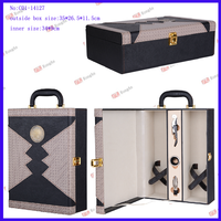 PU leather 2 bottle wine boxes for 750ml red wine /wine gift box /leather wine carrier C01-14127