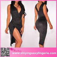 Hot Sale Wholesale Black Faux Suede Faux Wrap Slit Mother Of The Bride Dress Short