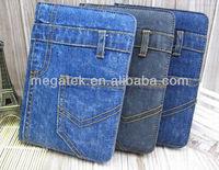 Fashion Demin jeans folio leather case for ipad 2 3 4 air mini, for ipad case leather