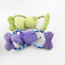 With high warratee plush dog cat pet chew toy with strong rope