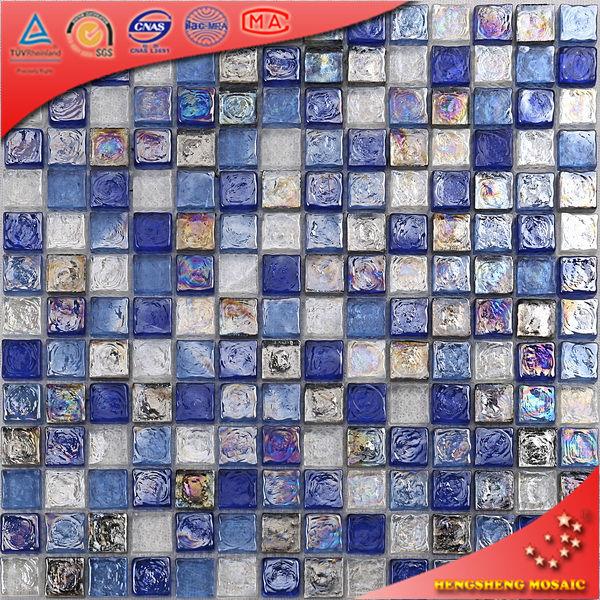 Azulejo Para Baño Azul:HA23 Azulejo mosaico para baño de cristal azul y blanco iridiscente