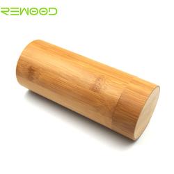 custom bamboo sunglass case Natural Bamboo Box Round Wood beige Cylindrical Shaped Sunglasses Wooden Case