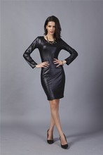 New coming women bandage dress charm design european style leather dress