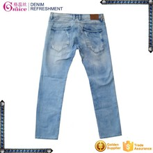 2015 China fashion new design washed damaged low waist skinny jeans for men