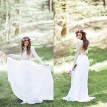 Bohemian Lace Long Sleeve Two Pieces Chiffon Bride Wedding Dress For Promotion (MAW0171)