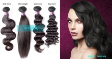 brazilian remy human loose wave hair weaving ponytail high quality