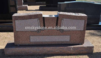 Good Quality Wing Style With Notch Vase Whole Pink Color Granite Headstone