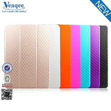 Veaqee new product kickstand clear pc soft pu leather case for ipad air 2