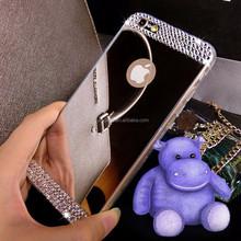 Latest handmade Luxury diamond adorned makeup case with mirror,lipstick case with mirror supplier