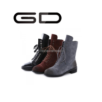 GD 2015 stylish half boots denim half boots women real leather lace up half boots woman latest design round toe