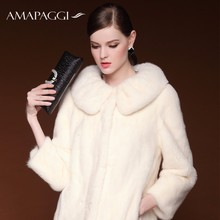 2015 winter new fur coat Half natural white mink fur coat women