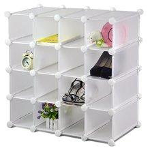 Pie de enclavamiento 16 parejas pantalla cubo plástico zapatero organizador de almacenamiento